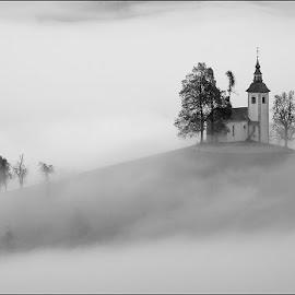 by Blaž Ocvirk - Black & White Landscapes ( foggy, church )