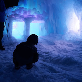 Peering into sledding tunnel by Jolie Ritchie - Landscapes Weather ( minnesota, snow, winter, ice, cold, ice castle, child )
