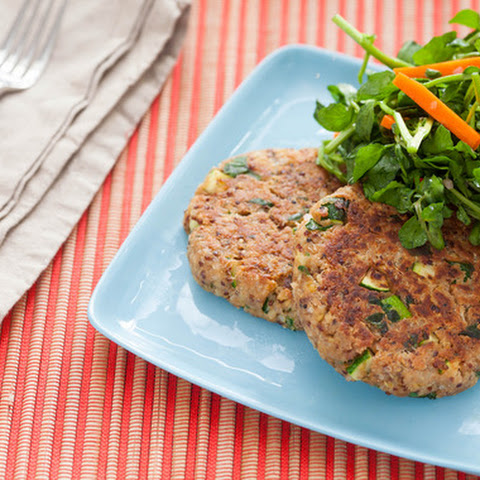 Chickpea, Quinoa, and Vegetable Cakes with Watercress Salad