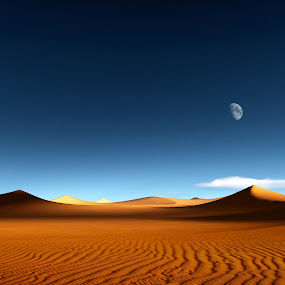 Caravans by Markus Gann - Print & Graphics All Print & Graphics ( sand, moon, dry, desert, dune, horizon, landscape, heat, sky, nature, blue, hot, cloud, sahara, africa )