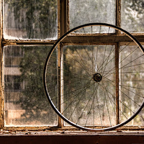 wheel in window by Linda Stander - Artistic Objects Other Objects ( window, round, spokes, rim, bicycle )