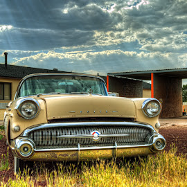 Williams Buick by Darin Williams - Transportation Automobiles ( super, clouds, williams. arizona, riviera, sky, classic car, grass, 1957, automobile, buick, route 66, weeds )