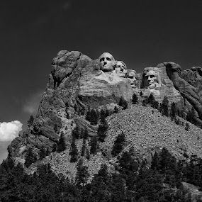 Mount Rushmore by Zach Boudreaux - Black & White Buildings & Architecture ( mount rushmore, black and white, beautiful, dramatic )