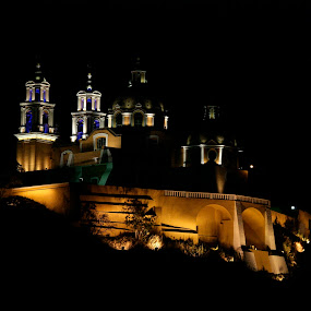 Church at Night by Cristobal Garciaferro Rubio - Buildings & Architecture Public & Historical ( cholula, church, puebla mexico )