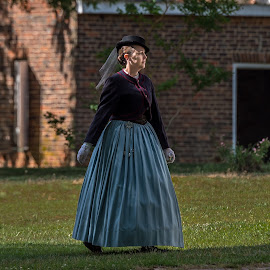 Lady with Confidents by Mike Watts - People Street & Candids ( brattonsville, reenactor, 1800's, lady )