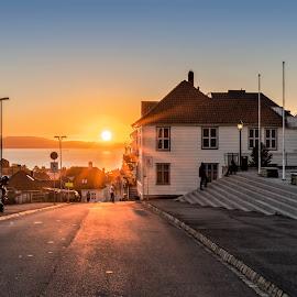 Sunset street by Svein-Rene Kraakenes - City,  Street & Park  Street Scenes ( seascape, springtime, sunset, buildings, travel locations, houses, norway, skyscape, streetphotography, summer, bergen )