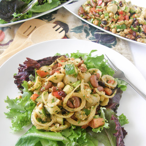 Orrechiette and Beans Pasta Salad with a Pesto Dressing