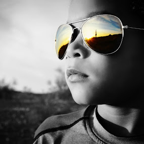 Desert Relfection  by Laurie Holland - Babies & Children Child Portraits ( child, black and white, selective coloring, boy )