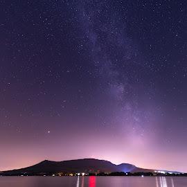 MilkyWay by Štěpán Florus - Landscapes Starscapes ( sky, hill, view, nature, night, milkyway, stars, water, landscape, lights )