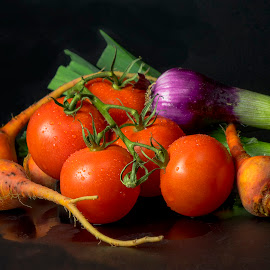 Tomatos. Radishes and Scallons 2 by Jim Downey - Food & Drink Fruits & Vegetables ( purple, green, scallon, radish, onion )