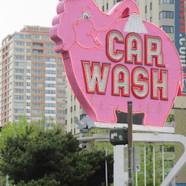 Pimk Elephant Car Wash by Becky Gwaltney - City,  Street & Park  Street Scenes (  )