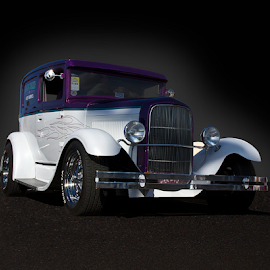 Blue and White Hot Rod by David Dise - Transportation Automobiles