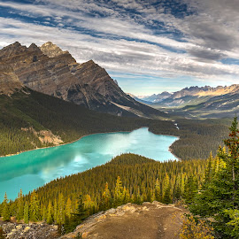 Peyto Lake by Corey Yeatman - Landscapes Mountains & Hills ( mountians, national park, canada, lake, banff, relax, tranquil, relaxing, tranquility,  )