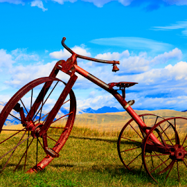 Antique Tricycle by David Bair - Transportation Other ( bell, mountains, tricycle, scenic, rust, antique,  )