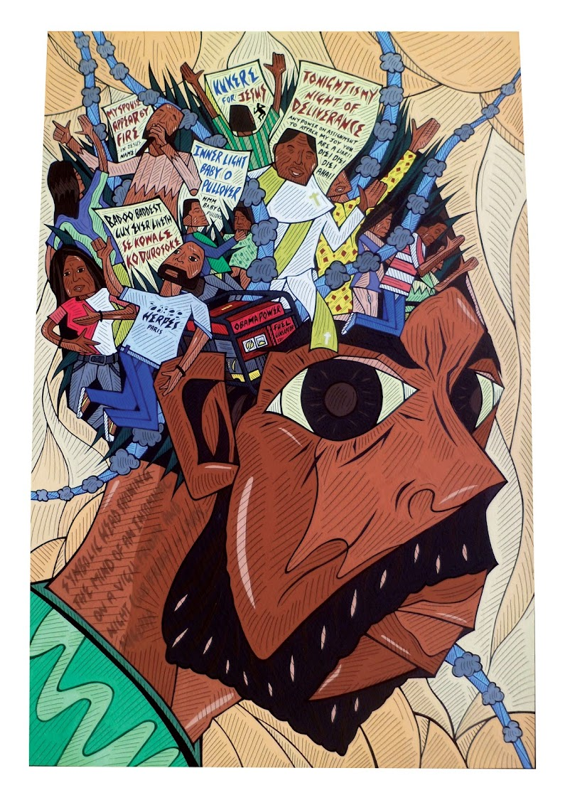 Karo Akpokiere, 2 Vigils and Nite Clubs, from series Lagos Drawings, 2013
