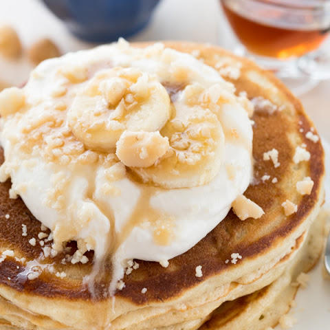Buttermilk Banana Pancakes with Coconut Maple Syrup