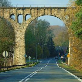 BEHIND THE BRIDGE by Wojtylak Maria - Buildings & Architecture Bridges & Suspended Structures ( old, trees, architecture, road, bridge )