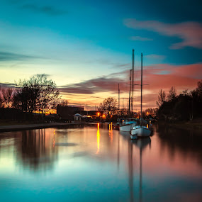 Sunset reflections in the canal by Andy Young - Landscapes Sunsets & Sunrises ( cheshire, widnes, uk, canal basin, silhouette, sunset, boats, reflections )