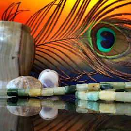peacock feather, marble vase, agate gemstones by Janette Ho - Artistic Objects Still Life