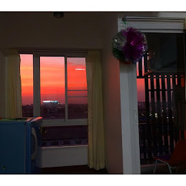Sunset spilling into my studio apartment. Eye candy. by Lori Danko - Buildings & Architecture Homes ( bliss, sunset, sunrise_sunsets_aroundworld, skyporn, travelgram, lonelyplanet, surreal, breathe, beautiful )