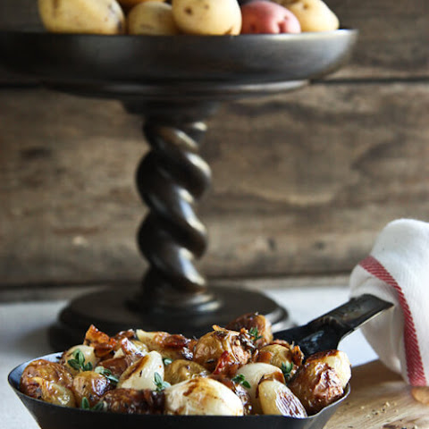 Roasted Potatoes with Bacon, Pearl Onions and Sherry Vinegar