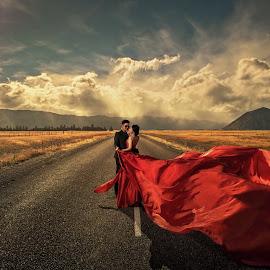 Red by Zhuo Ya - Wedding Bride & Groom ( zhuoya, prewedding, wedding, zhuoya photography, new zealand )