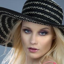 derby hat by Chris Meyer - People Portraits of Women ( colour, headshot, portrait, eyes, hat,  )