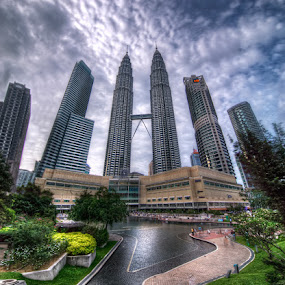 Petronas Twin Towers by Abu bakar Mohd tajudin - City,  Street & Park  Vistas (  buildings,  cities,  hdr,  landscape, malaysia,  vertorama hdr )