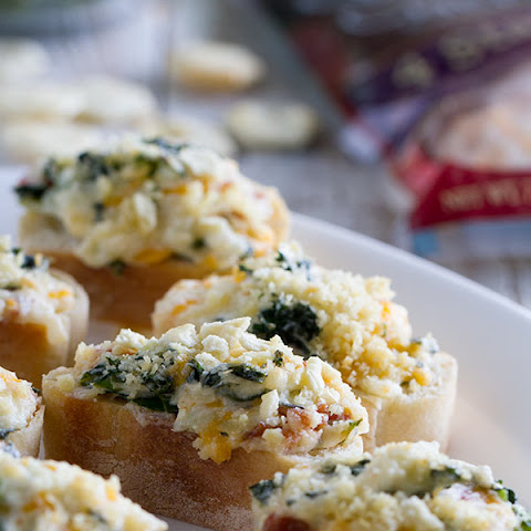 Cheesy Bacon and Kale Crostini