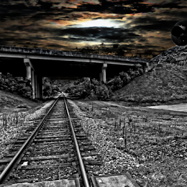 Harvest Moon Glow by Dawn Vance - Digital Art Places ( moon, nght, black and white, digital art, tracks, bridge, harvest )
