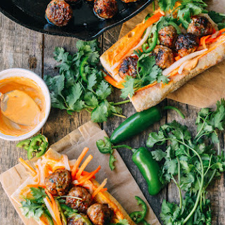 Spicy Banh Mi Stuffed with Pork Meatballs