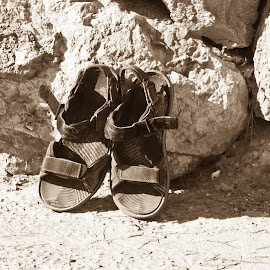 old soles by Andy Dow - Artistic Objects Clothing & Accessories ( old, friends, sandles, companions, dusty )