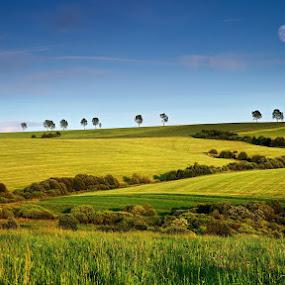 East to East by Matej Kováč - Landscapes Prairies, Meadows & Fields ( slovakia field landscape moon,  )