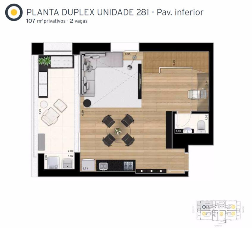Planta Cobertura Duplex   Inferior Final 1 - 107 m²