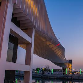 New twist over Dubai Canal by Zulfikar Khan - Buildings & Architecture Bridges & Suspended Structures ( building, dubai, architecture, bridge, landscape, morning, golden hour )
