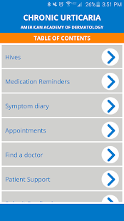 AAD Chronic Hives Patient App - screenshot