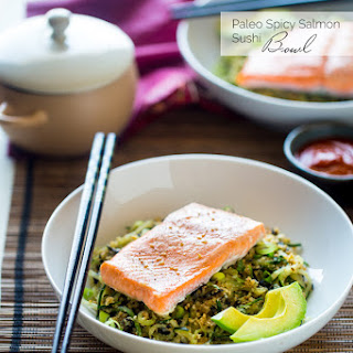 Spicy Salmon Cauliflower Rice and Cucumber Noodle Paleo Sushi Bowl
