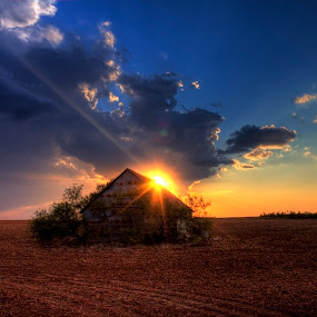 Old Shack Sunset by Glenn Patterson - Landscapes Sunsets & Sunrises ( field, clouds, orange, sky, hdr, blue, sunset, shack, beautiful, brown, yellow, dirt )