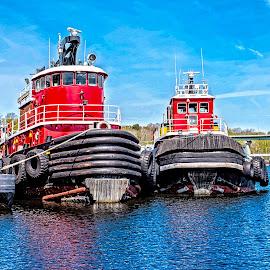 Tugs by Richard Michael Lingo - Transportation Boats ( maine, port, boats, tugs, transportation )