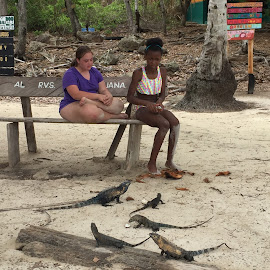 Feeding the Iguanas by Sheila Hull-Summers - Novices Only Portraits & People ( panama, girls, iguana, beach, island )