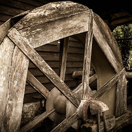 Mill wheel in retirement by Nena Volf - Artistic Objects Other Objects ( mill, old, wood, wheel )