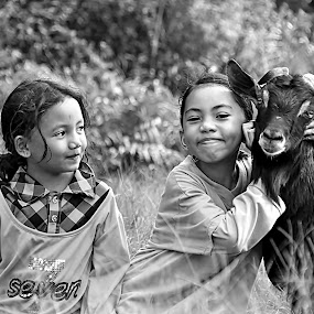 Our Lovely Pet by Ibrahim Samsudin - Babies & Children Children Candids ( tame, love, joyful, sisters, goat )