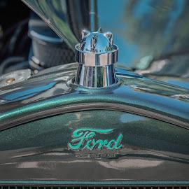Ford by Eva Krejci - Transportation Automobiles ( blue, color, green, chrome, vintage car, ford, hood )