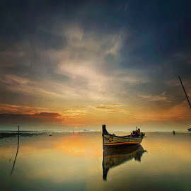 Lonely boat by Muhasrul Zubir - Landscapes Sunsets & Sunrises