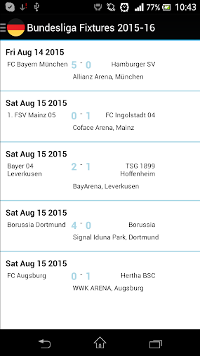 Fixtures for Bundesliga APK
