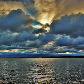 Bay Sunrise on a Cloudy Day by Carolyn Taylor - Landscapes Cloud Formations