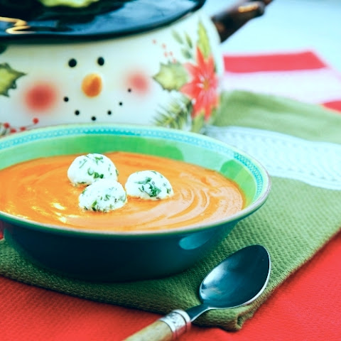 Roasted Red Pepper Soup with Goat Cheese and Herb Marbles