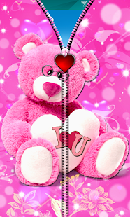 Pink Teddy Bear Zipper Lock - screenshot
