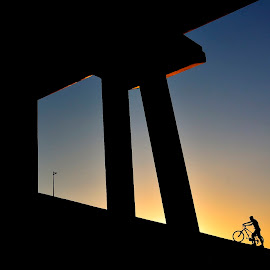 Get on a bicycle by Mustafa Tor - Sports & Fitness Cycling ( sunset, sports, yellow, black, bicycle )