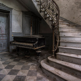 stairway to music...  by Marco Bontenbal - Buildings & Architecture Decaying & Abandoned ( urbex france chateau piano stairway lost abandoned decay decayed,  )